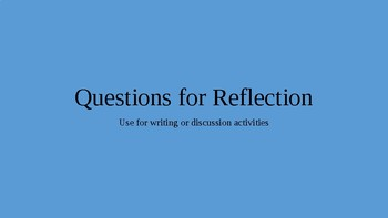 Prompts for Short Writing or Discussion Activities