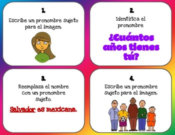 Pronombres Personales Task Cards