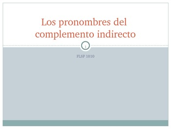 Pronombres de Complemento Indirecto / Indirect Object Pronouns