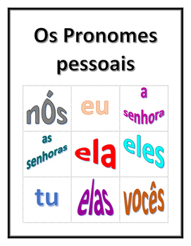Pronomes pessoais (Subject pronouns in Portuguese) Bingo