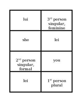 Pronomi personali (Subject pronouns in Italian) Concentration games