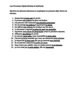 Pronoms compléments Direct and Indirect object pronouns French worksheet 3