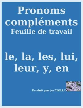 Pronoms compléments Le La Les Lui Leur Y En pronouns worksheet