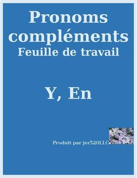 Pronoms compléments Y et EN French pronouns worksheet 3