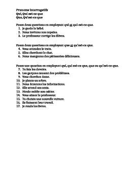 Pronoms interrogatifs (Interrogative pronouns in French) worksheet 1