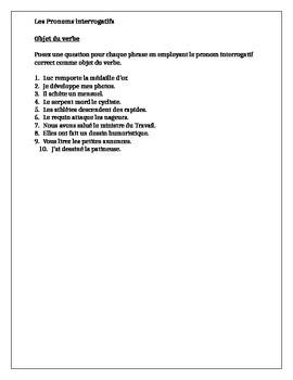 Pronoms interrogatifs (Interrogative pronouns in French) worksheet 2