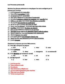 Pronoms personnels worksheet 2