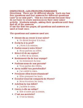 Pronoms possessifs (French Possessive pronouns) Inspecteur Speaking activity