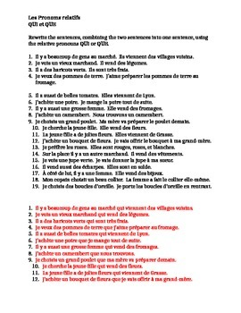 Pronoms relatifs (French Relative Pronouns) Qui et Que worksheet 3