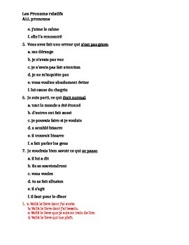 Pronoms relatifs (French Relative pronouns) ALL pronouns worksheet 7