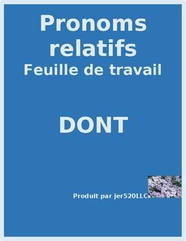 Pronoms relatifs (French Relative pronouns) Dont worksheet