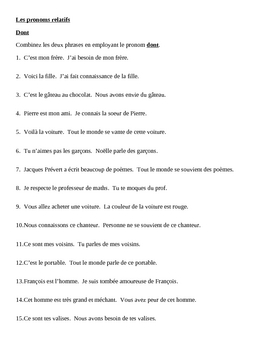 Pronoms relatifs (French Relative Pronouns) Dont Worksheet