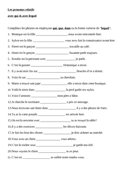 Pronoms relatifs (French Relative pronouns) Qui, Que, Dont, Lequel worksheet 1