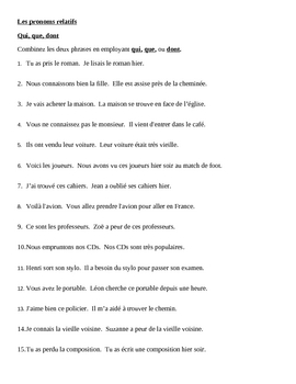Pronoms relatifs (French Relative pronouns) Qui, Que, Dont worksheet 1