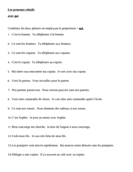 Pronoms relatifs (French Relative pronouns) Avec Qui worksheet