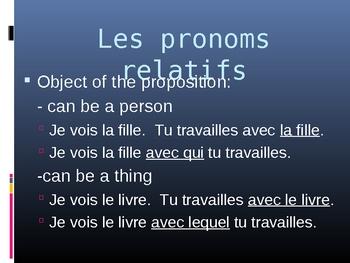 Pronoms relatifs (French Relative pronouns) power point