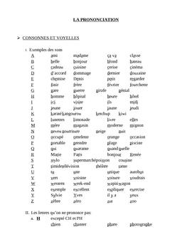 Prononciation française (French pronunciation) packet