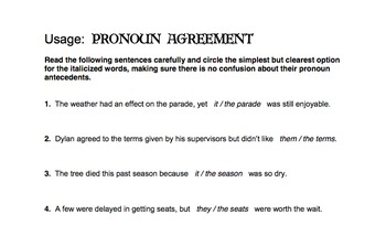 Pronoun Agreement