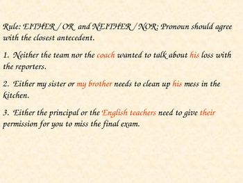 Pronoun Agreement PowerPoint