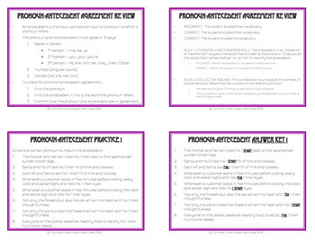Antecedent Agreement Activities - Worksheets, Powerpoint & Answer Key
