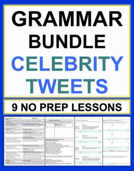 Celebrity Tweets Grammar Bundle of 9 No Prep Lesson Plans & Worksheets 65% OFF