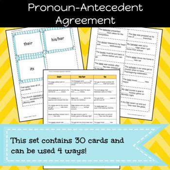 Pronoun-Antecedent Agreement Game/Sort Pack (INC. DIGITAL VERSION)