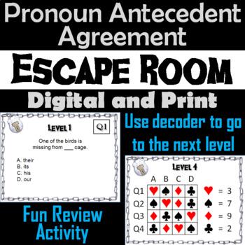 Pronoun Antecedent Agreement : Grammar Escape Room - ELA