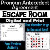 Pronoun Antecedent Agreement Activity: Escape Room Grammar Review Game
