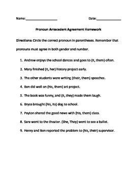 Pronoun Antecedent Agreement Homework, Classwork and Quiz