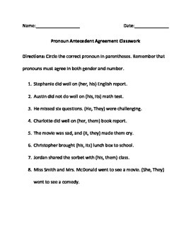 Pronoun Antecedent Agreement Homework, Classwork and Quiz