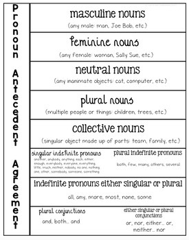 Pronoun Antecedent Agreement Interactive Notebook Pieces