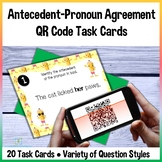 Pronoun Antecedent Agreement QR Code Cards Self-Checking f