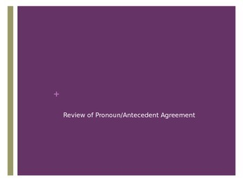 Pronoun-Antecedent Agreement Review
