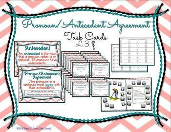 Pronoun Antecedent Agreement Task Cards