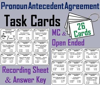 Pronoun Antecedent Agreement Task Cards 3rd 4th Grade