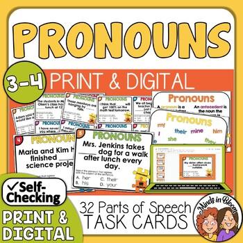 Pronoun Antecedent Agreement Task Cards CCSS.ELA.L.3.1f