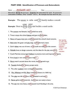 Pronoun-Antecedent Identification Worksheet