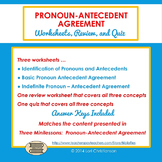 Pronoun-Antecedent Agreement Worksheets, Review, Quiz
