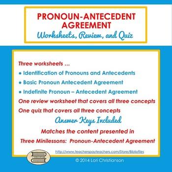 Pronoun-Antecedent Agreement Worksheets, Review, Quiz