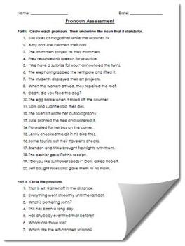 Pronoun Assessment Worksheet