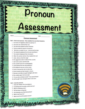 Pronoun Assessment Worksheet
