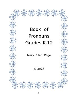 Pronoun Book for Grades K - 12