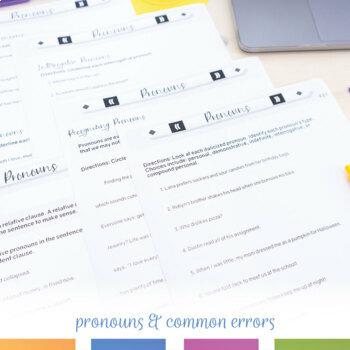 Sixth Grade Grammar Bundle: Pronouns, Parts of Speech, Parts of a Sentence