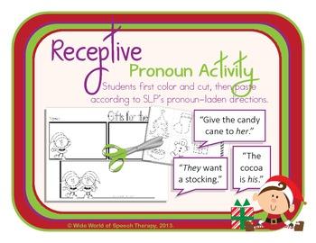 Pronoun Christmas Pack w/ Bilingual Spanish Speech Therapy Options