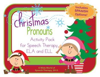 Pronoun Christmas Pack w/ Bilingual Spanish Speech Therapy
