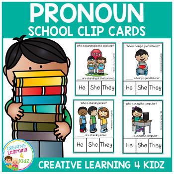 Pronoun Clip Cards: School