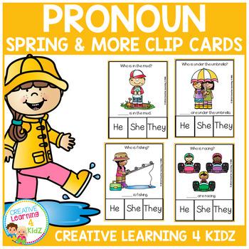 Pronoun Clip Cards: Spring & More