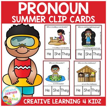 Pronoun Clip Cards: Summer