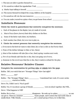 Pronouns and Comma Review Worksheets Grade 6