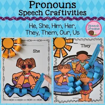 Pronoun Crafts {Grammar Receptive Expressive Language Craftivity}
